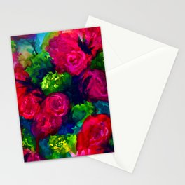 Hand painted watercolor background. Abstract flowers. bouquet of flowers, rose, peony Stationery Cards