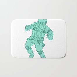 Astronaut Floating in Space Drawing Bath Mat