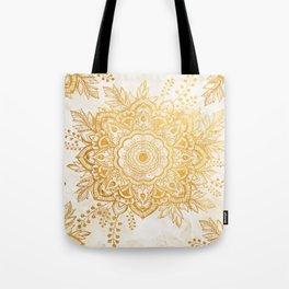 Queen Starring of Mandala-Gold Sunflower Tote Bag