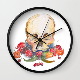 Skull and Peppers Wall Clock