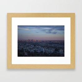 LA Skyline at Sunset Framed Art Print