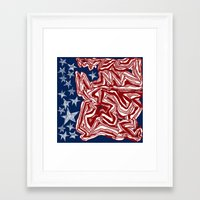 american flag Framed Art Prints featuring American Flag by Brontosaurus