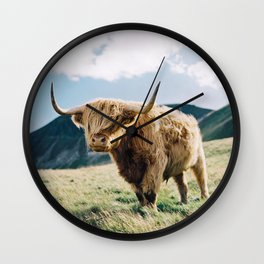 Portrait of a Highland Coo Wall Clock