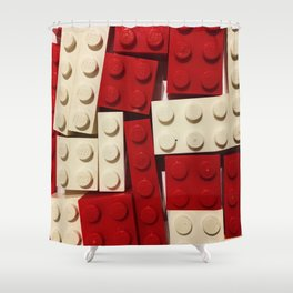 Red and White Legos Shower Curtain