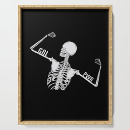 Girl Power Skeleton Illustration Serving Tray