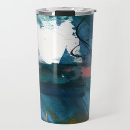 Breathe Through It: a vibrant abstract painting in blue pink and various colors by Alyssa Hamilton Travel Mug