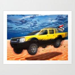 VivaChas Beach Adventure and the Yellow Dog Pickup Art Print