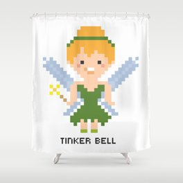 Tinker Bell Pixel Character Shower Curtain