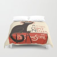 noir Duvet Covers featuring A French Ninja Cat (Le Chat Ninja) by Kyle Walters