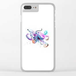 Octopus Watercolor Art Clear iPhone Case