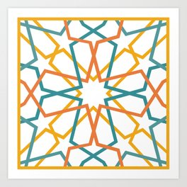 Orange Yellow Turquoise Geometric Tile Pattern Art Print