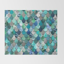 Mermaid Pattern, Sea,Teal, Mint, Aqua, Blue Throw Blanket