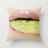 lip Throw Pillows featuring Lip Leaf by Bougiee Inc.