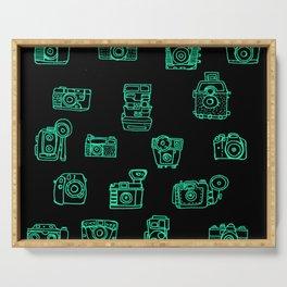 Cameras: Teal - pop art illustration Serving Tray