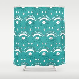 Moon and Rays Shower Curtain