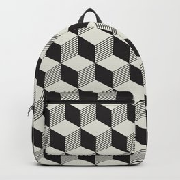 Geometric Pattern 195 (black gray blocks) Backpack