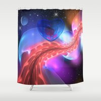 i love you to the moon and back Shower Curtains featuring I love you to the moon and back by thea walstra