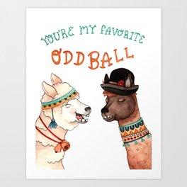 Oddball Llamas Art Print