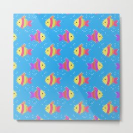 Swimming Fish Cartoon Pattern Metal Print