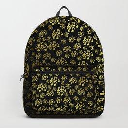 golden notes music symbol in black Backpack