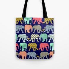 baby elephants and flamingos navy Tote Bag
