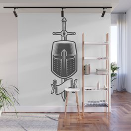 Sword and Helmet of a Medieval Crusader Knight with Ribbon Wall Mural