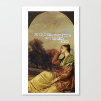 jane austen Canvas Prints featuring jane austen  by Emily P