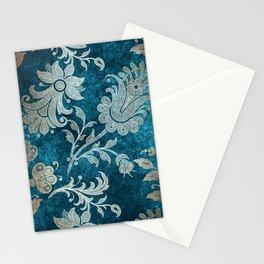 Aqua Teal Vintage Floral Damask Pattern Stationery Cards