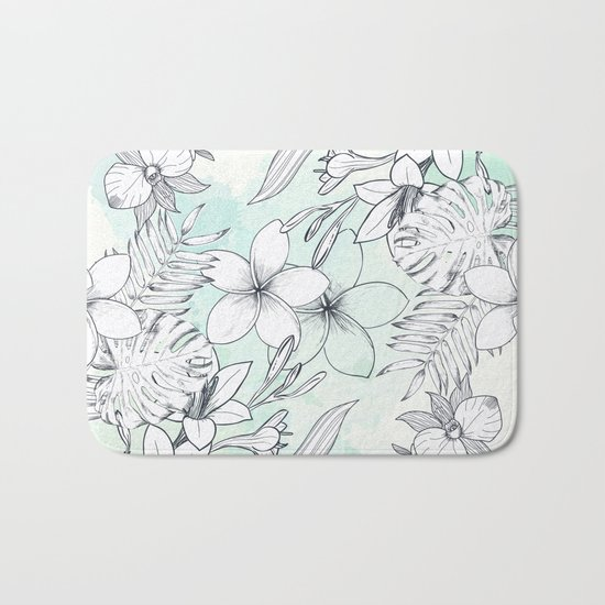 Floral Sketches Bath Mat