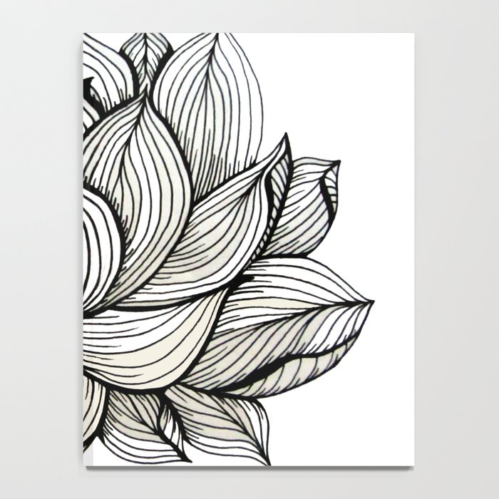 Lotus Flower Black And White Nature Organic Design Drawing Abstract Unique Lines Pattern Notebook