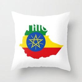 Ethiopia Flag print Habesha Map Proud Africa product Throw Pillow