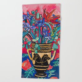 Persephone Painting - Bouquet of Iris and Strelitzia Flowers in Greek Horse Vase Against Coral Pink Beach Towel