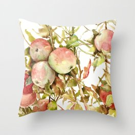 Apples, Apple Tree kitchen design illustration fruits Throw Pillow