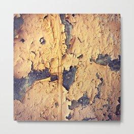 Yellow Paint Peel Texture Metal Print