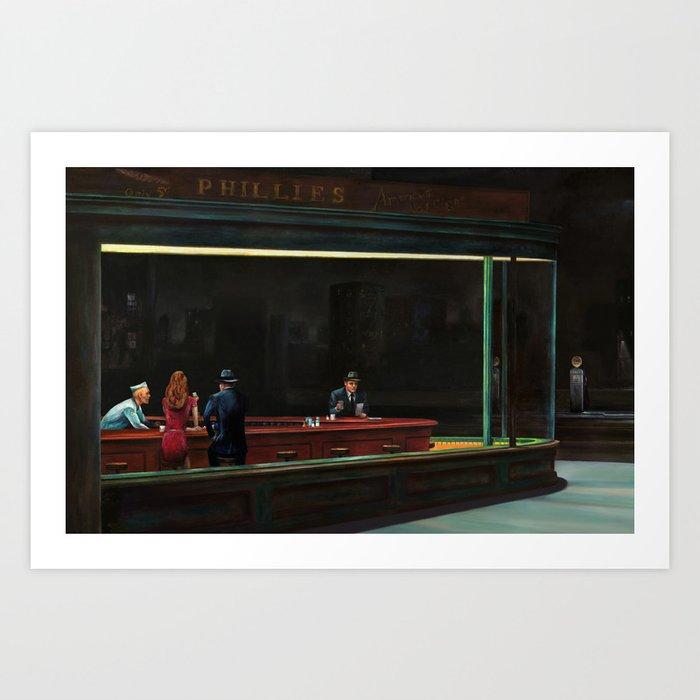 Nighthawks (oil on canvas) Art Print