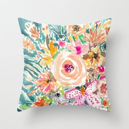 SMELLS LIKE WARM CAT Colorful Floral Throw Pillow