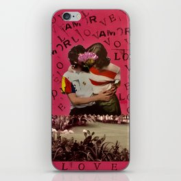 LOVE-AMOR, boy and girl kissing in front of a lake iPhone Skin