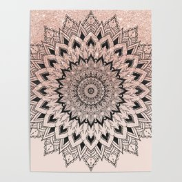 Boho black watercolor floral mandala rose gold glitter ombre pastel blush pink Poster