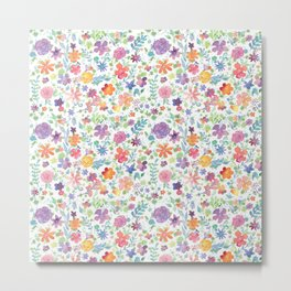 Colorful Whimsical Watercolor Flowers Pattern Metal Print