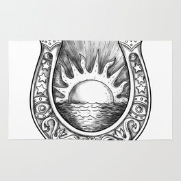 Horseshoe Sun and Sea Tattoo Rug