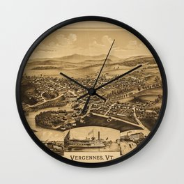 Aerial View of Vergennes, Vermont (1890) Wall Clock