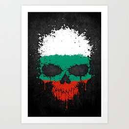 Flag of Bulgaria on a Chaotic Splatter Skull Art Print