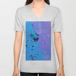 Acrylic Pour - Blue Purple Black Unisex V-Neck