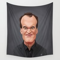 quentin tarantino Wall Tapestries featuring Celebrity Sunday ~ Quentin Tarantino by rob art | illustration