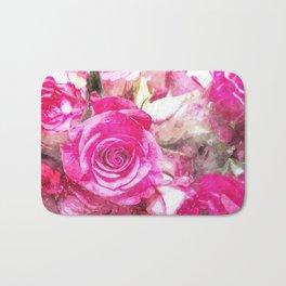 Bunch of Pink roses (watercolour) Bath Mat