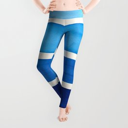 Prussian Blue Minimalist Watercolor Mid Century Staggered Stripes Rothko Color Block Geometric Art Leggings