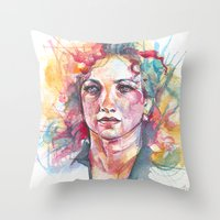 river Throw Pillows featuring River by Alice X. Zhang