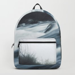Cascade waterfall on foggy mystical morning Backpack