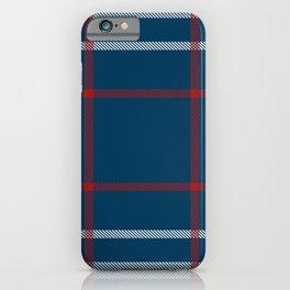 Red, White & Blue Plaid Tartan Pattern iPhone Case