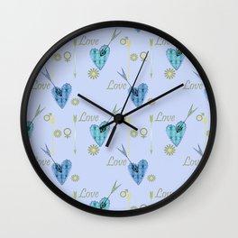 Love . The filigree heart . Blue background . Wall Clock